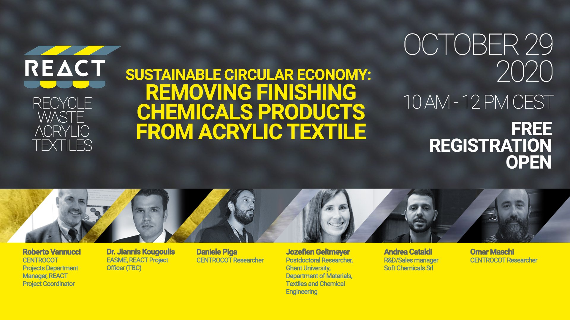 Sustainable Circular Economy: Removing finishing chemicals products from Acrylic Textile @ Online